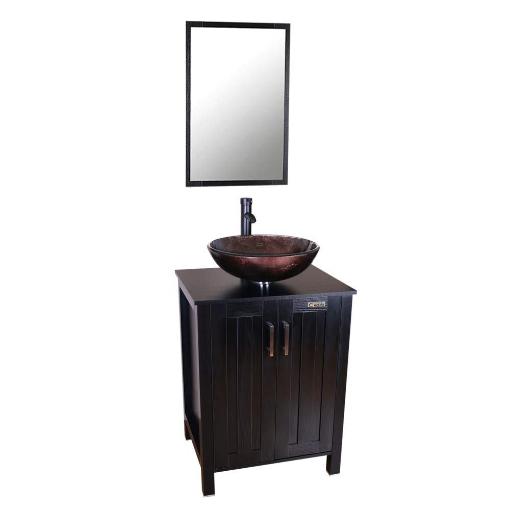 Modern Vessel and Sink Tops Combol 24 Inch Bathroom Cabinet with 1.5 GPM Water Save Faucet /& Solid Brass Pop Up Drain and Mirror 1.5 GPM Water Save Faucet /& Solid Brass Pop Up Drain and Mirror