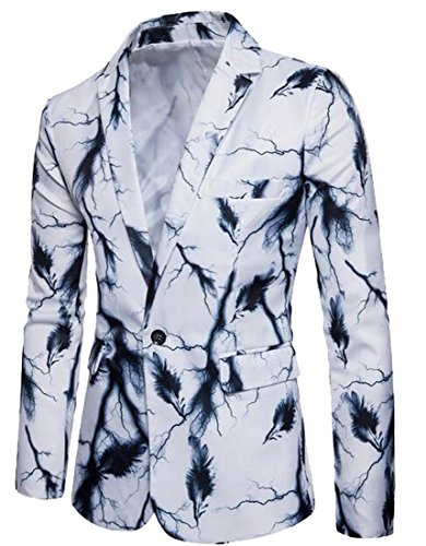 Discount SYTX Mens Classic Feather Print One Button Lapel Blazer Suit Jacket Outerwear