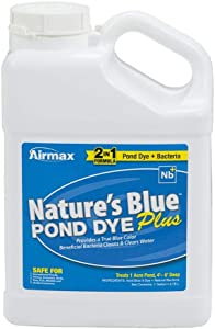 Airmax Nature's Blue Pond Dye Plus with PondClear Beneficial Bacteria, Cleans & Clears Water, Safe for The Environment - 1 Gallon