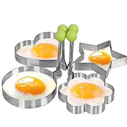 Egg Ring, I-Choice Nonstick Stainless Steel Egg Mold Omelette Mould Egg Rings Pancake Rings Fried Egg Cooker Molds Cooking Tools Kitchen Gadgets, Round/Heart/Star/Flower Shape, Set of - Heart Egg Shaped