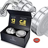 Luxury Filtered Shower Head Set (Metal) Cartridge Vitamin C and E + 12-Stage Shower Water Filter - Universal Shower System - Helps Dry Skin & Hair Loss - Removes Chlorine & Sediments