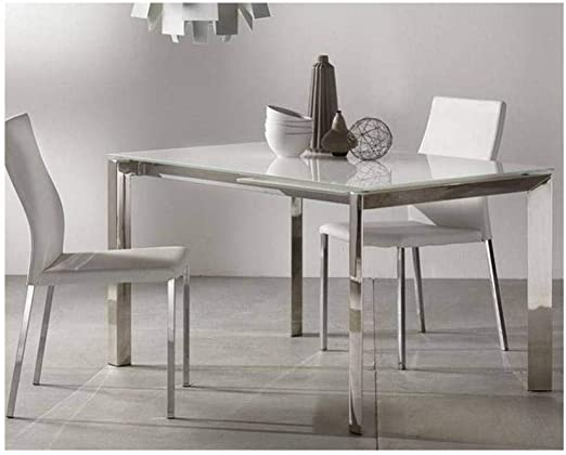 La Seggiola Mesa Comedor Extensible Titanium en Cristal Blanco y ...