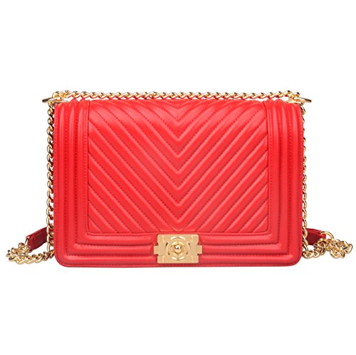 Leather Crossbody Red Hobo Strap Genuine gold Bag Hardware Ainifeel Handbags Women's Chain Quilted ZzEEgw