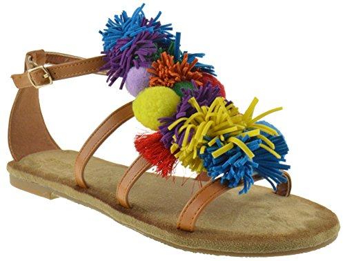 b0343ef2d461 Nadya 74S Womens Fringe Decorative Flat Gladiator Sandals Tan 7.5