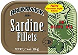 Brunswick Sardine Fillets in Olive Oil, 3.75oz can (Pack of 18)