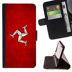 Momo Phone Case / Flip Funda de Cuero Case Cover - Nación Bandera Nacional País Isla de Man; - Huawei Ascend P8 (Not for P8 Lite)
