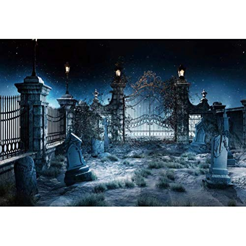 Leowefowa 7x5ft Halloween Themed Photo Backdrop Spooky Cemetery Background Gravestones Graveyard Fence Hollow Out Gate Starry Sky Background Halloween Horror Night Party Decorations Photo Booth Props
