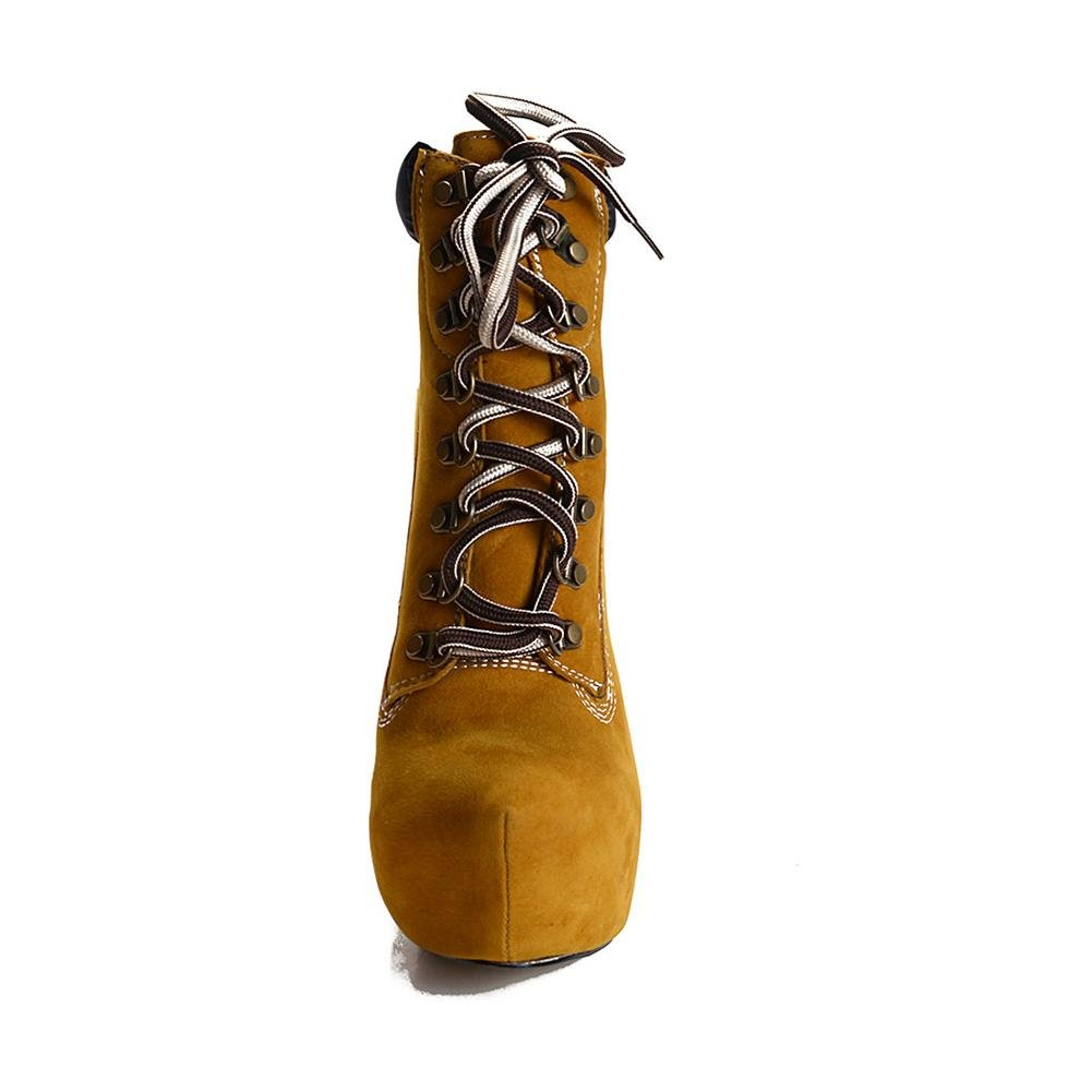 Damen Knöchel Kurz Stiefel Mode Schuhe Schuhe Mode Stiletto Ferse Wasserdicht Gurte Frühling Herbst Braun 44afe5