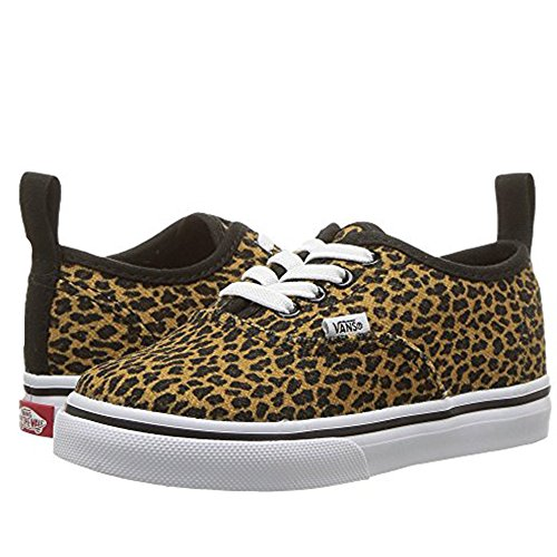 Vans Authentic Elastic Lace (Mini Leopard) Fashion Sneakers Brown/True White Size 4 Toddler