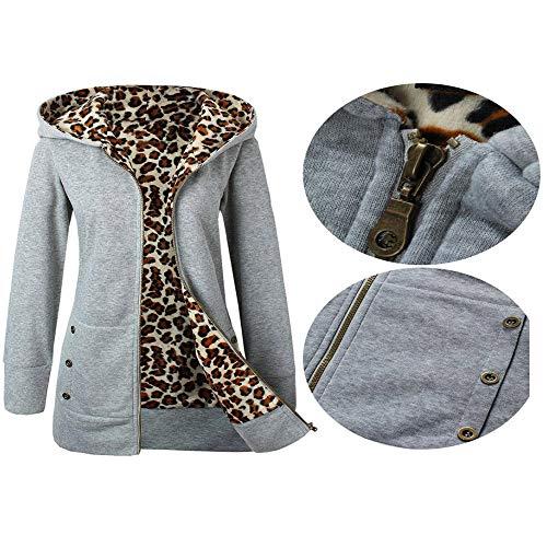 Señoras De Cremallera Abrigo Capucha Windbreaker Para ❤️ Sudaderas Gris Y Modaworld Chaquetas Suéter Mujer Leopardo Cardigan Con EgwqOw