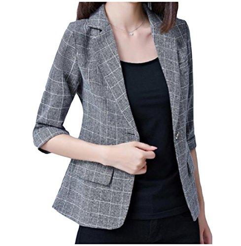 Tootless Women Trim-Fit 3/4 Length Plaid Short Suit Overcoat Blazer Black L