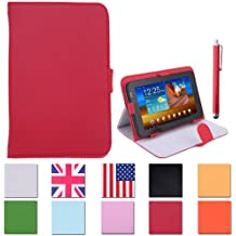 """HDE Universal 7"""" Leather Folio Tablet Case Cover w/ Matching Stylus Pen (Red)"""