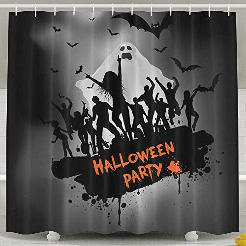 LLuotryce 69W X 70L Inches Shower Curtain,Grunge Halloween Party Background Polyester Waterproof Bath Curtain,Fabric Resistant Bathroom Decoration with -