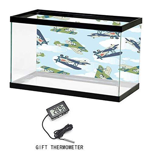 (Aquarium Fish Tank Background Poster, Airplane Decor, Vintage Allied Plane Flying Pattern Cartoon Children Kids Repeating Toys Shark Teeth, 24