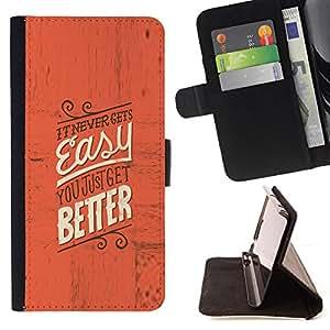 - RED TEXT EASY MOTIVATIONAL INSPIRING BETTER - - Prima caja de la PU billetera de cuero con ranuras para tarjetas, efectivo desmontable correa para l Funny HouseFOR Apple Iphone 5C