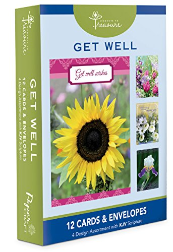 12 Count Boxed Flower Get Well Cards Bulk With KJV Scripture – Floral Greeting Cards Sick For Her For Him Flowers
