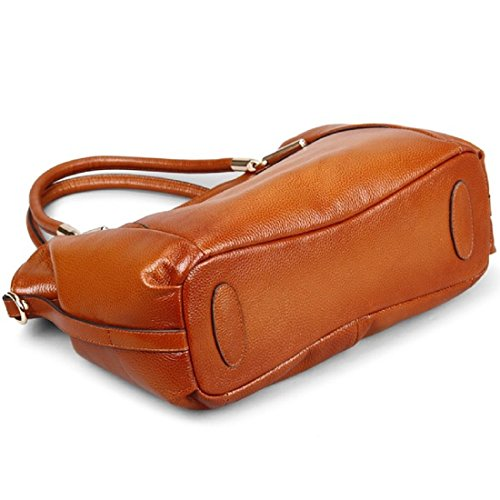 Red Bag handle Hermiona Leather Tote Shoulder Women Brown Genuine Top xpvq8Fp