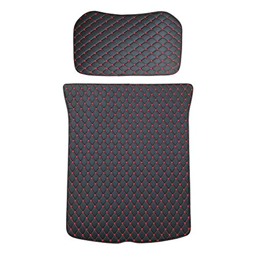 (Topfit Frunk and Trunk Protective Pads for Model 3 Include Front and Rear Trunk Mat (Black with Red Stitches, 2 Pieces of A Set))