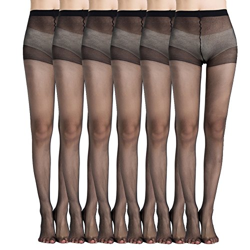 MANZI Women's Everyday Energy 6-Pack 20-Denier Silk Sheer Pantyhose