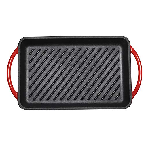 Enameled Cast-Iron Rectangular Grill Pan, Loop Handles, Fire Red, 9.5'' x 13.5'' by Bruntmor (Image #3)
