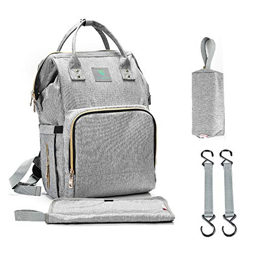 G-LEAF Diaper Bag Backpack, Multi-Function Waterproof Insulated Maternity Baby Unisex Bags Satchel with Changing Mat, Stroller Straps, Sundry Bag(Grey)