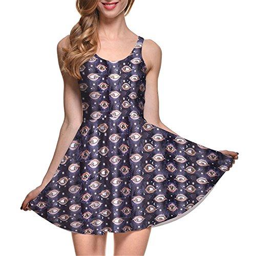 Sexy Girl Women Summer Golden The Daleks Tardis 3D Digital Prints Reversible Sleeveless Skater Pleated Dress 1067 4XL -