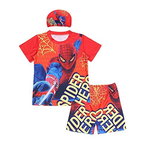 Cosplay Badpakken Jongen Spiderman Zwemkostuum Vakantie Surfpak Badmode Drie Set Shorts Zwembroek Mouw Cartoon Poolside…