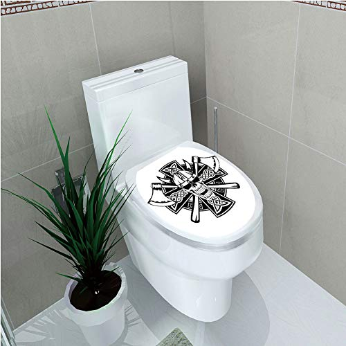 Toilet Sticker 3D Print Design,Celtic,Celtic Skull Knight with Cross Axes and Knives Medieval Europe Iron Age Graphic,Black White,for Young Mens,W12.6