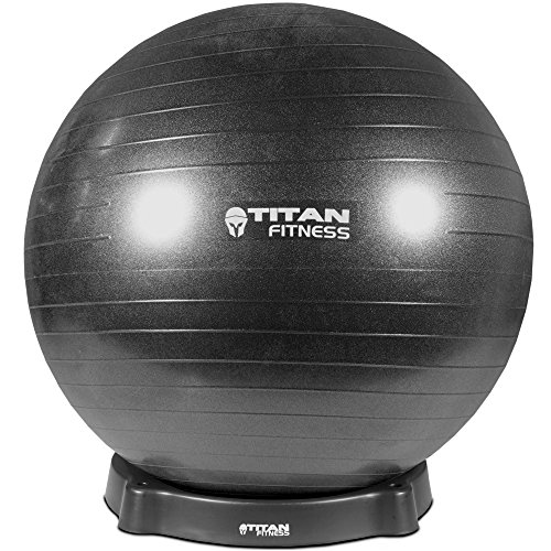 Titan Fitness Black 65cm Exercise Stability Ball w/ Base Chair Combo Gym Yoga