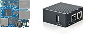 NanoPi R2S Open Source Mini Router with Dual-Gbps Ethernet Ports 1GB DDR4 Based in RK3328 Soc for IOT NAS Smart Home Gateway, Bundle with CNC Metal Case