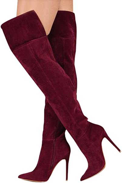 6a6b0c00ae64 Women's Sweet Pointy Toe Suede Over the Knee Thigh High Stiletto High Heel  Zipper Boots Wine Red Size EU42: Amazon.co.uk: Shoes & Bags