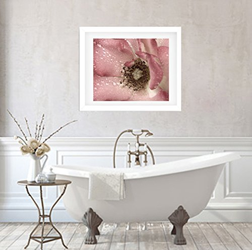 Bathroom Decor Wall Art, Modern Bathroom Artwork, Dusty Pink Flower Photographic Print, Rain Drops and Rose Floral Photography, Shabby Chic Bathroom Wall Picture