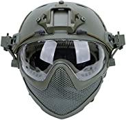 Tactical PJ Airsoft Fast Helmet F22, Full Face Protection with Detachable Mask and Goggles, Outdoor Riding Hel