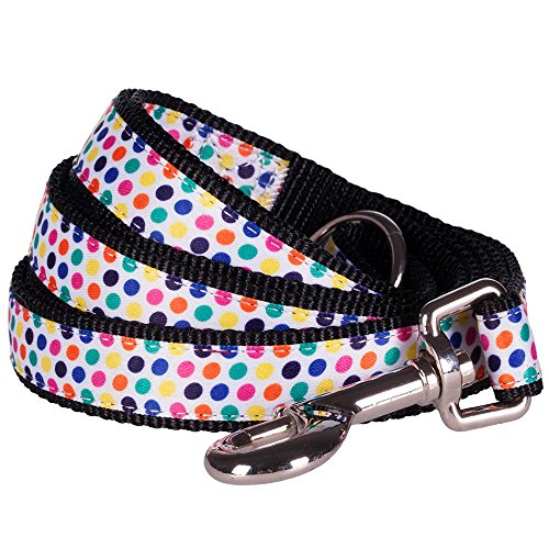 "Blueberry Pet Durable Multicolor Polka Dot Designer Dog Leash 5 ft x 3/4"" in Black, Medium, Leashes for Dogs"