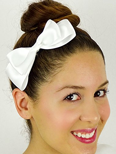 Alice in Wonderland Inspired Bow White Satin Ribbon Elastic Stretchy Headband Hair Accessory Handmade by Sweet In The City (Party City Alice In Wonderland Costumes)