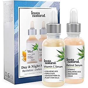 Day & Night Duo Bundle – Vitamin C Serum & Retinol Serum – Natural & Organic Anti Aging Formula for Face – Improve Skin Texture & Glow – Reduce Fine Lines Dark Spots Hyperpigmentation – InstaNatural