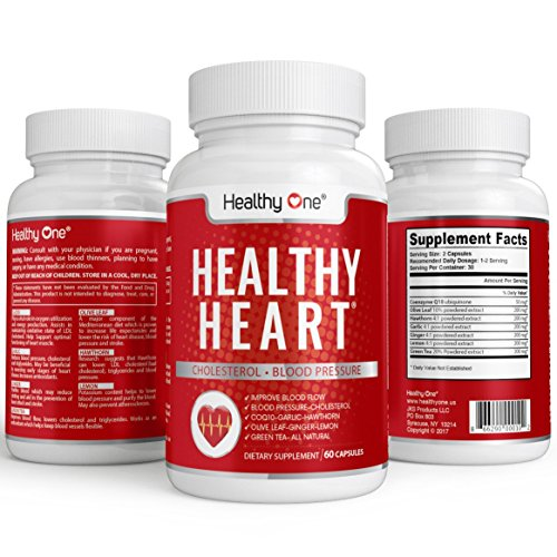 Healthy Heart Cardiovascular Supplement 60 Capsules. Improve CHOLESTEROL, BLOOD PRESSURE, BLOOD FLOW, CoQ10, Olive Leaf, Ginger, Hawthorn, Lemon, Green Tea. All Natural ()