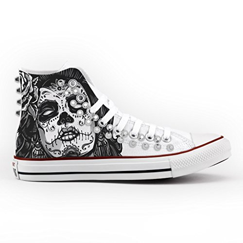 All Personalizzate artigianali Star Skull argento scarpe con Converse borchie vTdxd4