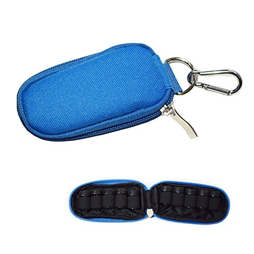 Keychain Essential Oil Carrying Case Holds 10 Bottles 2ml&3ml for Travel or Home Storage Shockproof Padded Thick Foam Inside with Six Colors (Blue)