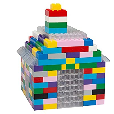 SCS Direct Building Bricks - 1000 Pc Big Bag of Bricks Bulk Unique Colored Clear Blocks with 54 Roof Pieces and Better Variety - Tight Fit with All Major Brands: Toys & Games