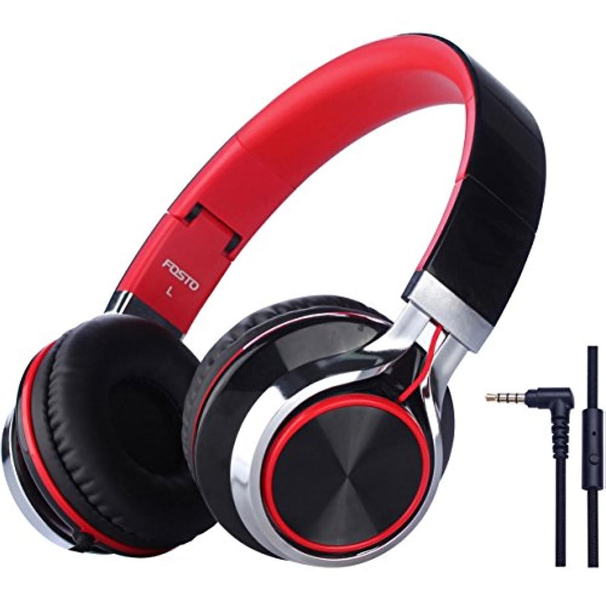 [해외] 어린이용 헤드폰 FOSTO 키즈용 헤드폰 접이식 볼륨 제한 밀폐형 MP3 휴대 게임기 (레드)