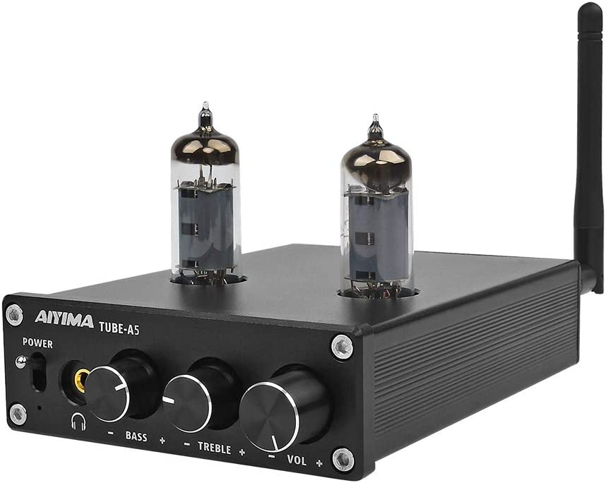 AIYIMA 6J4 Tube Amp Amplificador, TPA3116D2 Power Digital Home Audio Amplifiers 50Wx2 HiFi Stereo Vacuum Tube Amplifier with Bluetooth 4.2 Treble Bass Adjustment(6J4-Black)