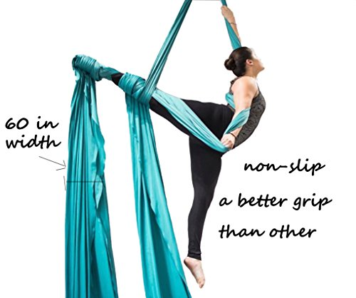 F.Life Aerial Silks for Aerial Acrobatic Dance 60in Wide (10 Yards) with The Equipment,Guide (Aqua)
