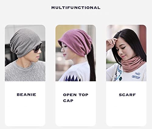 Jeelow 2 Pack Slouchy Ponytail Beanie Hat for Men /& Women Stretchy Multifunction Jogging Cycling Chemo