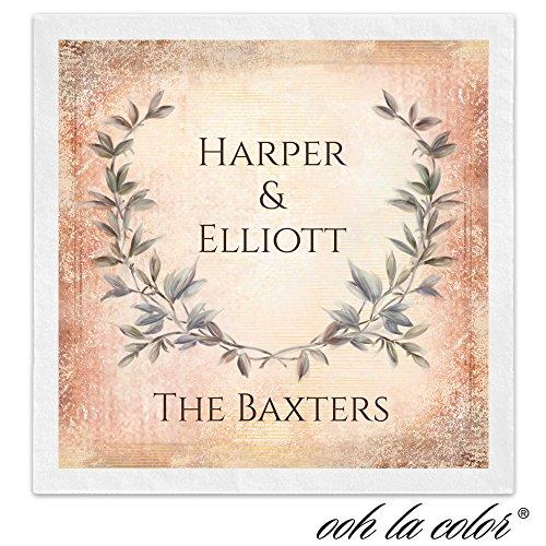 Laurel Leaf Crest Personalized Beverage Cocktail Ooh La Color Napkins - Canopy Street - 100 Custom Printed Paper Napkins
