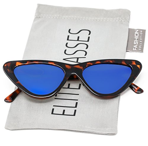 Cat Eye Sunglasses Clout Goggle Sexy Women Exaggerated Slim Frame Colorful Tinted Lens (Tortoise / Blue Mirror, - Frames Tortoise Cat Eye