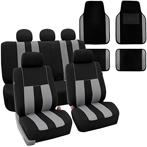 FH Group FH-FB036115 + F14407 Combo Set: Striking Striped Seat Covers with Premium Carpet Floor Mats Gray/Black Color- Fit Most Car, Truck, SUV, or Van