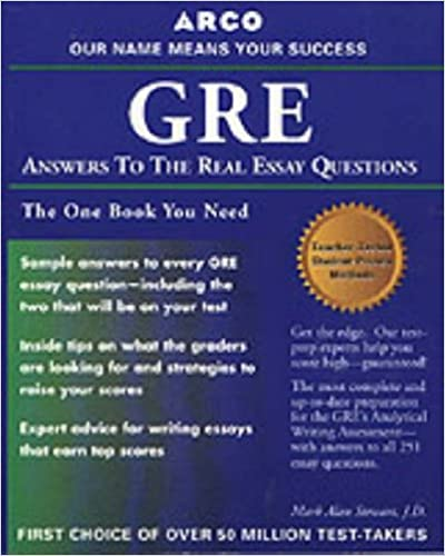 gre cat answers to real essay questions arco  gre cat answers to real essay questions 1st edition