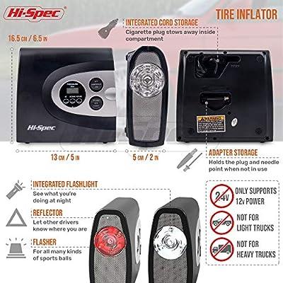Hi-Spec 12V Digital Air Compressor Tyre Inflator with Digital Pressure Gauge, Auto Shut-Off, 150PSI Max Pressure & 3 Adapters, Pump for Car Tires, Balls, Bikes, Pool Toy, Inflatable Mattress Bed: Home Improvement