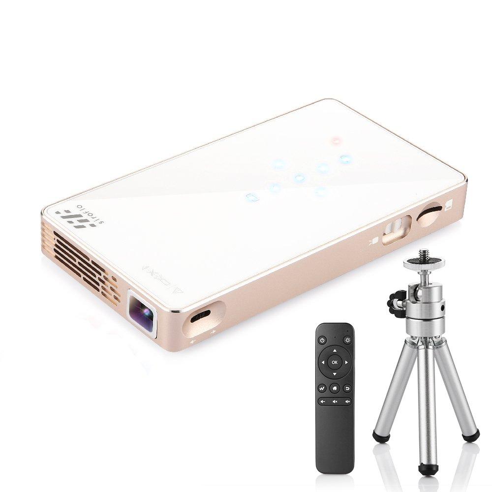 Siroflo Mini Beamer, P8S DLP Mini-Projektor LED Projektor Unterstützung HD 1080P 854 * 480 HDMI USB TF Karte DC Port Heimkino Projektor